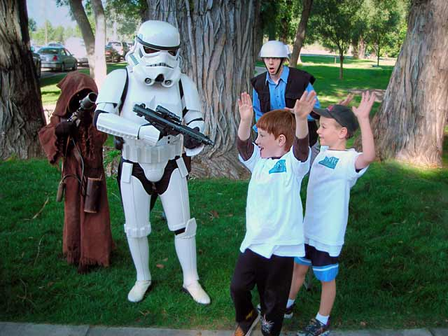 Ian and Friend being held up by stormtroopers